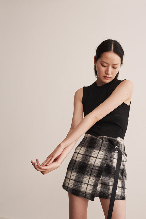 Wool Checker Skirt - 2s-twoways