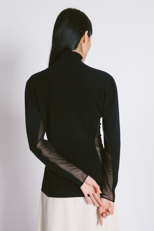 Side sheer Turtleneck Sweater - 2s-twoways