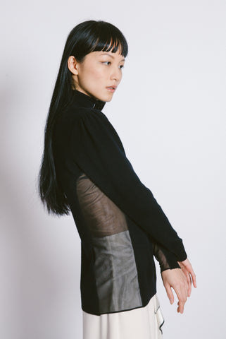 Side sheer Turtleneck Sweater
