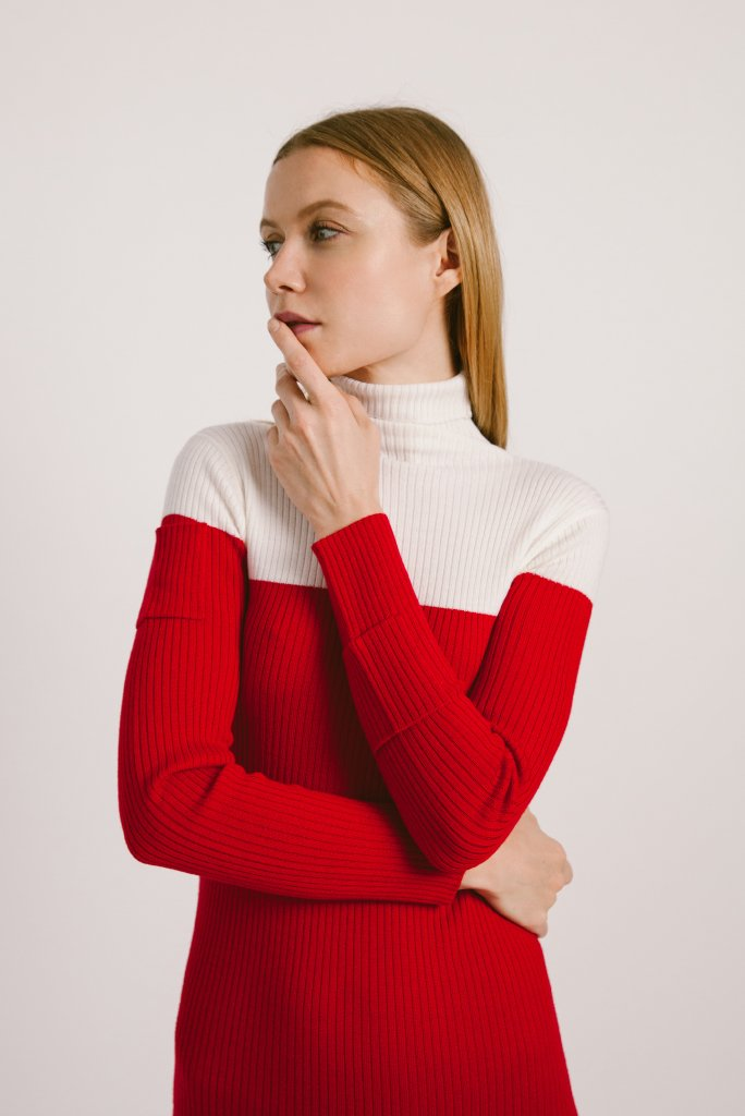 Color-Block Turtleneck Midi Wool Dress