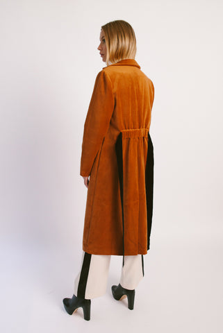 Velvet Back Ruched Robe Coat