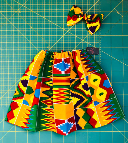 Jupe et Serre-tête / Ankara Skirt and Bow for Kids