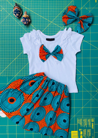 Ankara Set Skirt ,Tee-shirt Hair Bow