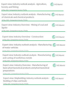 Comparative Industry Outlook Reports: Agriculture, Chemicals, Coal Mining, Construction, Motor Vehicles, Nonferrous Metals, Pharmaceuticals, Shipbuilding