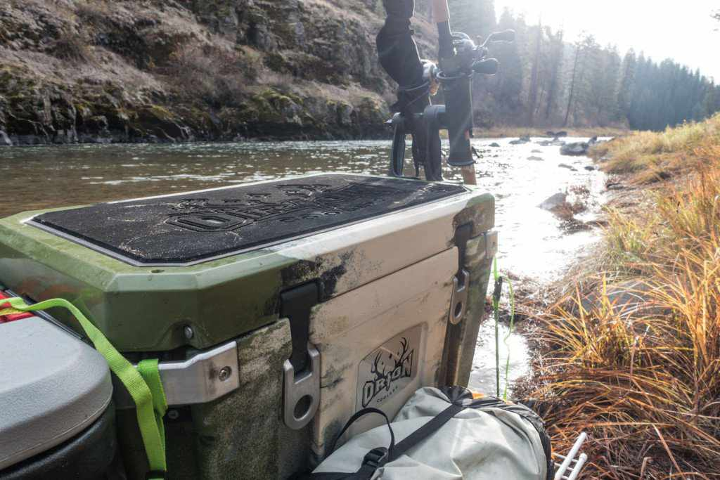 Orion Coolers 45 Strapped down to the raft