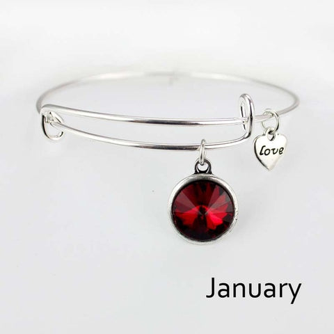 Birthstone Bangle Bracelet, 2.75""