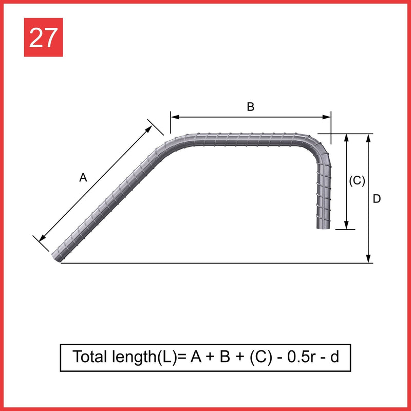 Custom Cut & Bent Rebar - Shape 27