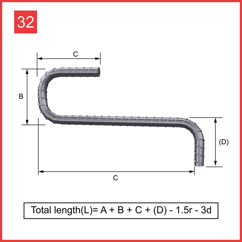 Custom Cut & Bent Rebar - Shape 32
