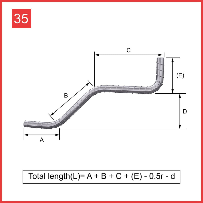 Custom Cut & Bent Rebar - Shape 35