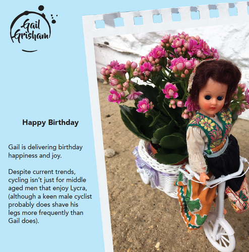 CYCLIST BIRTHDAY CARD - Doll Truths Gail Grisham funny greetings cards