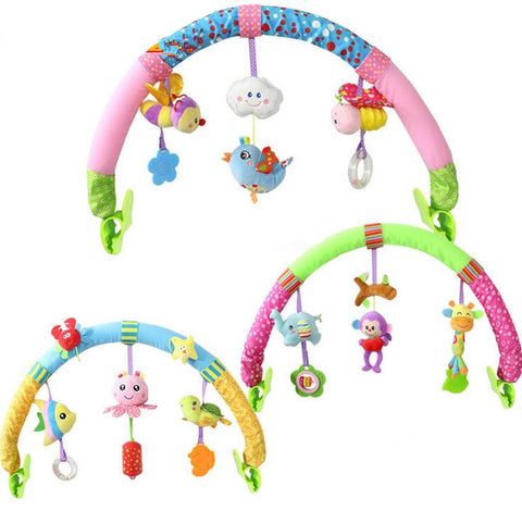 Hanging Seat & Stroller Rattle Toys with Fun Animals - BabyTrunk
