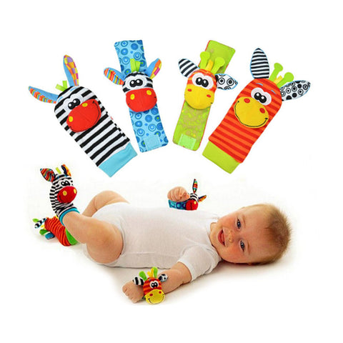 4 Piece Baby Rattle Toys for Hands and Feet