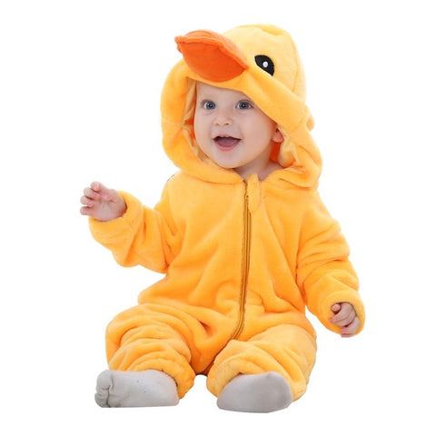 ADORABLE Infant Baby Flannel Long Sleeve FUN Duck Jumpsuit - BabyTrunk
