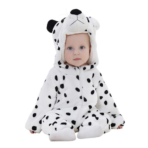 ADORABLE Infant Baby Flannel Long Sleeve FUN Dalmatian Jumpsuit - BabyTrunk
