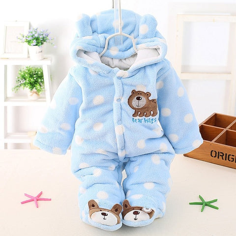 ADORABLE Infant Baby Cotton Padded Romper With Bear Print - BabyTrunk
