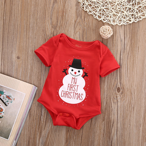 My First Christmas Snowman Romper - BabyTrunk