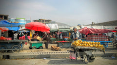 One of many small food bazaars in Kabul