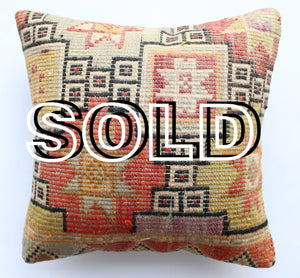 "SOLD...Turkish ""Cicim"" Jijim Kilim cushion cover - 40cmX40cm (16""X16"")"