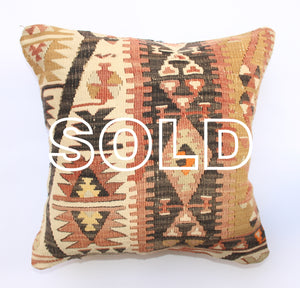 "SOLD...Vintage Turkish Kilim Cushion - 40cmx40cm (15.5""x15.5"")"