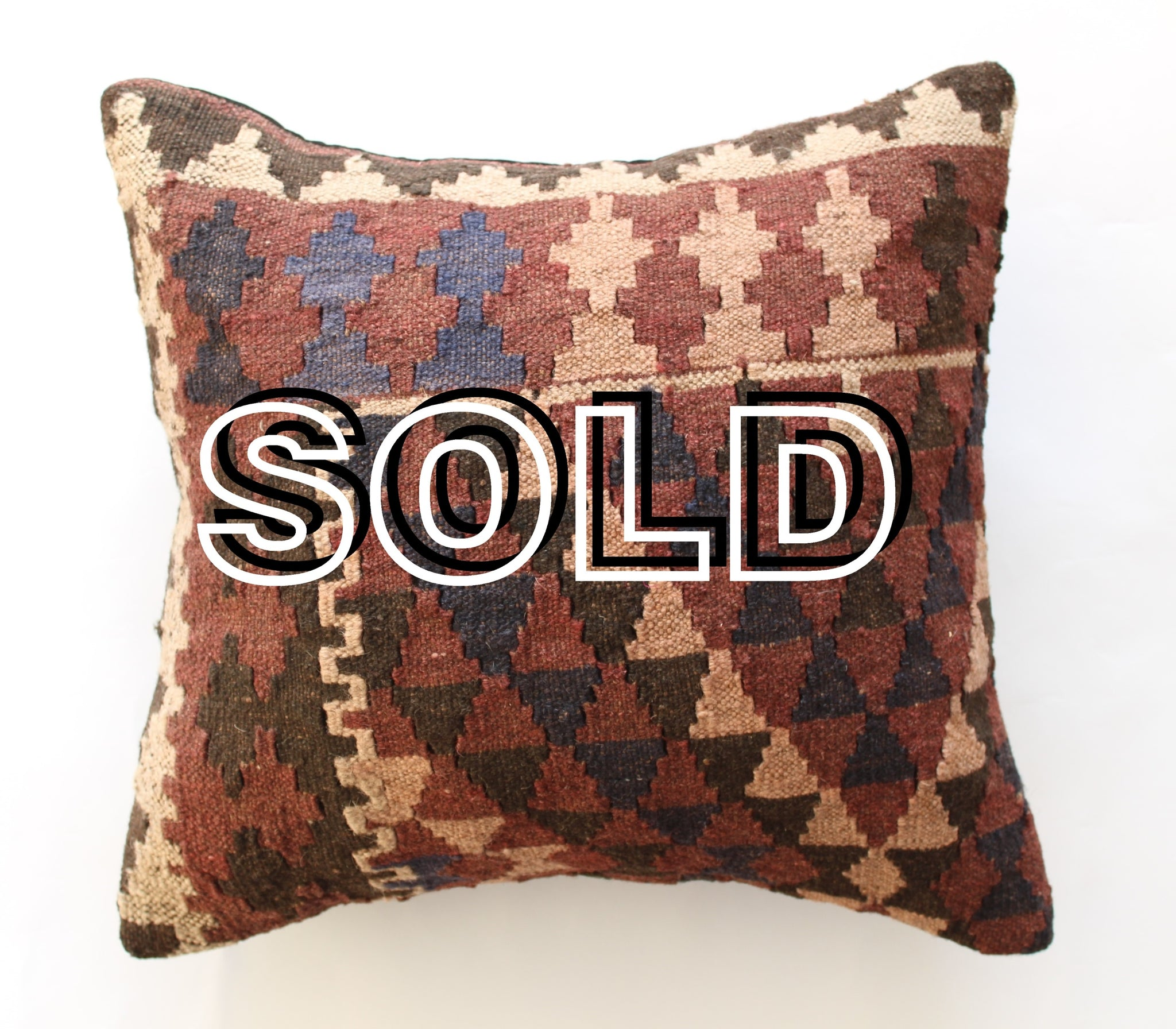 "SOLD...Turkish Vintage Kilim Cushion cover - 40cmX40cm (16""X16"")"