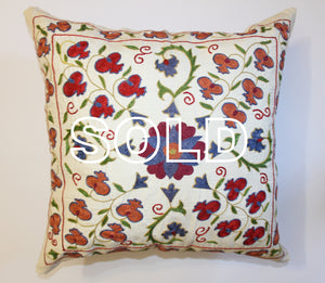 "SOLD...Afghan Silk Suzani Cushion Cover - 50cmx50cm (19.5""x19.5"")"
