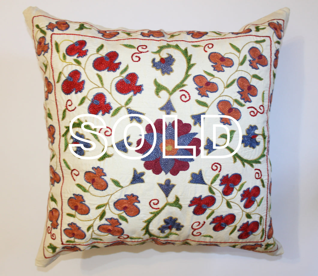 SOLD...Afghan Silk Suzani Cushion Cover - 50cmx50cm (19.5