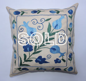 "SOLD...Afghan Silk Suzani Cushion Cover - 47cmx47cm (18.5""x18.5"")"