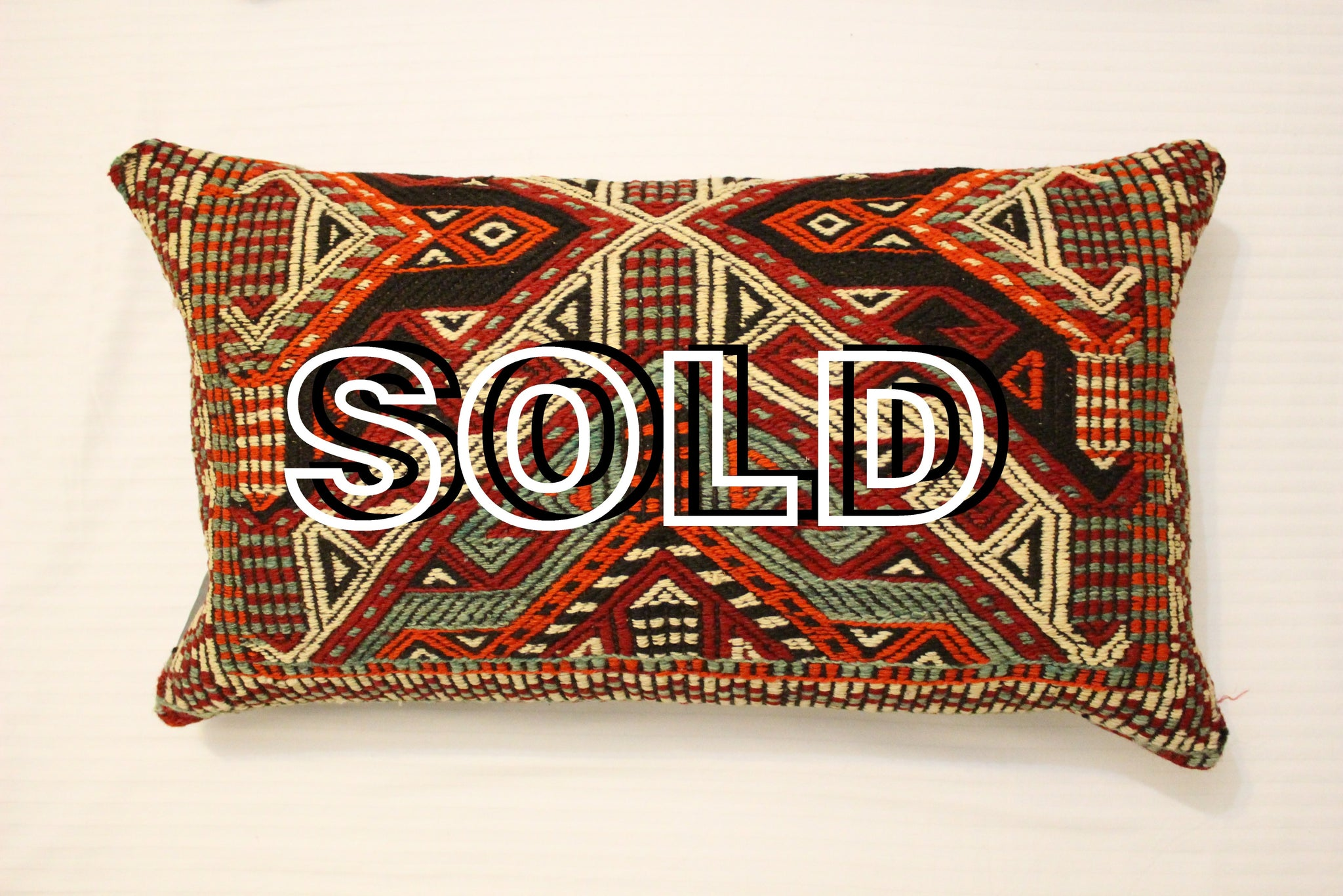 "SOLD...Turkish Lumbar Kilim Cushion - 72cmx42cm (28""x16.5"")"