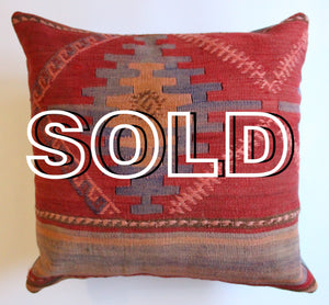 "SOLD...Turkish Kilim Cushion - 40cmx40cm (16""x16"")"