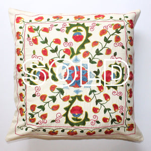 "SOLD...Afghan Silk Suzani Cushion Cover - 52cmx52cm (20.5""x20.5"")"