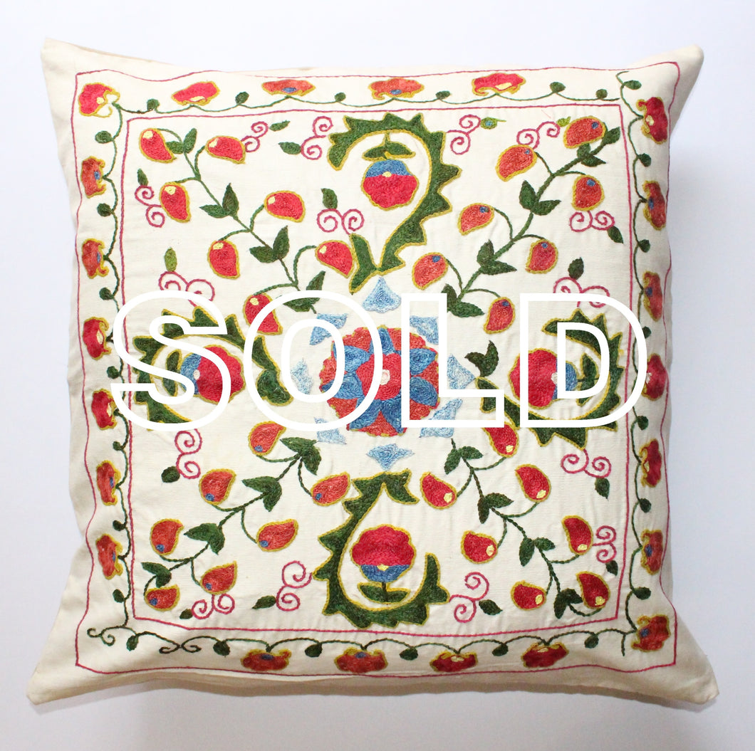 SOLD...Afghan Silk Suzani Cushion Cover - 52cmx52cm (20.5