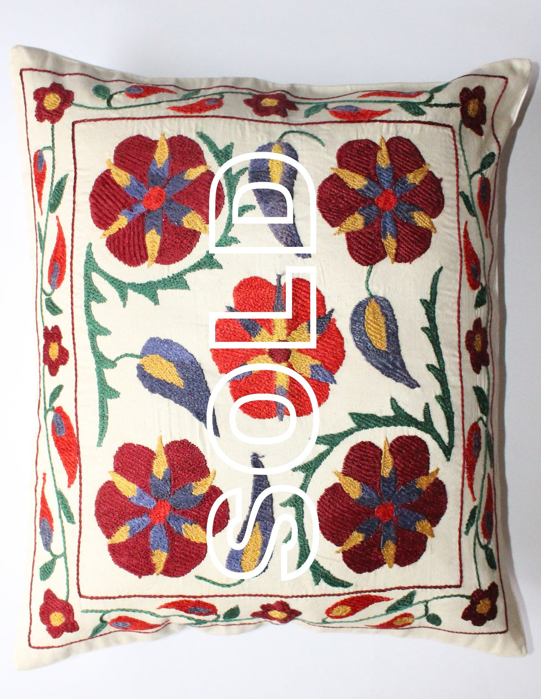 SOLD...Afghan Silk Suzani Cushion Cover - 50cmx44cm (19.6