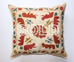 "SOLD...Afghan Woollen Suzani Cushion Cover - 48cmx45cm (18.8""x17.7"")"