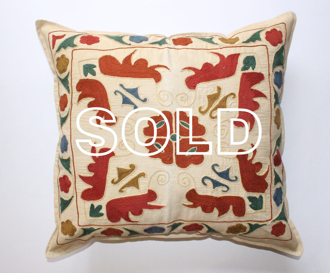 SOLD...Afghan Woollen Suzani Cushion Cover - 48cmx45cm (18.8