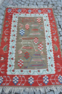 """Wheat"" Turkish Kilim 157cmx110cm (5'2""x3'7"")"
