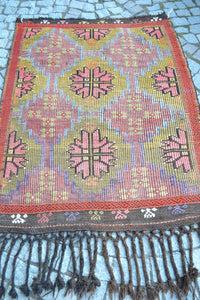 """Cottage Garden"" Vintage Cicim Turkish Kilim - 134cmx100cm (4'5""x3'4"")"