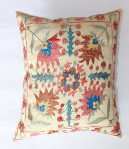"Afghan Silk Suzani Cushion Cover - 47cmx38cm (18.5""x15"")"