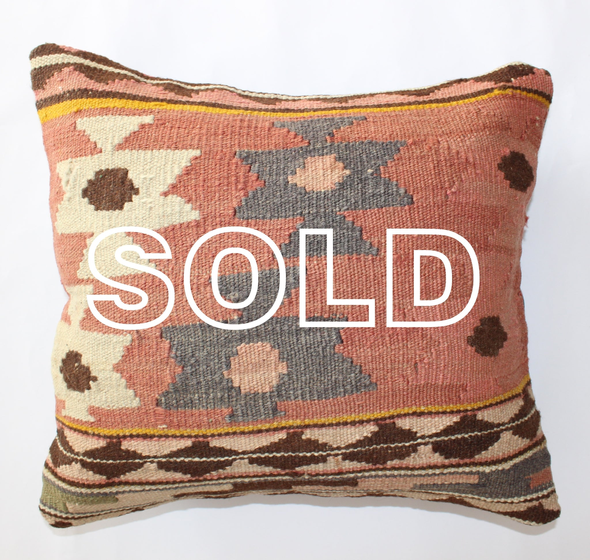 "SOLD...Turkish Kilim Cushion Covers - 40cmx40cm (16""x16"")"