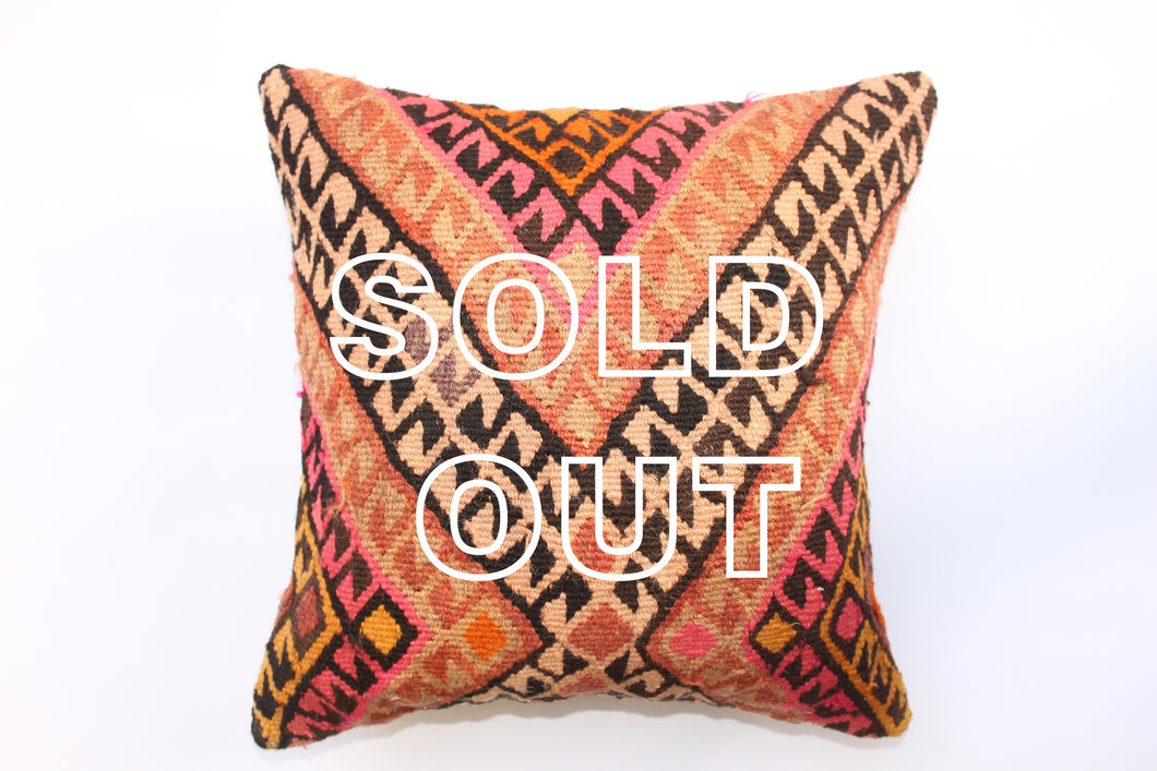 SOLD...Vintage Turkish Kilim Cushion - 43cmx43cm (17