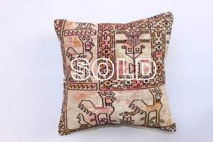 "SOLD...Vintage Iranian Kilim Cushion 40cmx40cm (15.5""x15.5"")"