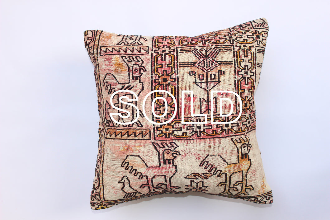 SOLD...Vintage Iranian Kilim Cushion 40cmx40cm (15.5