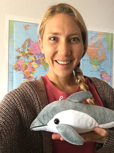 Emi Koch with Shore Buddies Finn the Dolphin