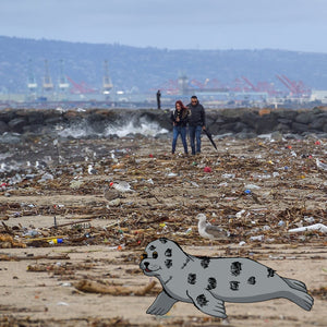 Shore Buddies Sammy the Seal rests at trashed Seal Beach.jpg