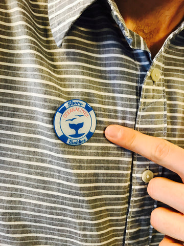 Aaron Westbrook of Form5 Prosthetics Inc. with Shore Buddies Ocean Activist pin