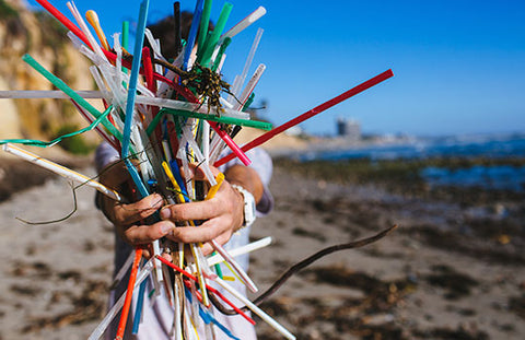 Plastic straws from beaches turned into art