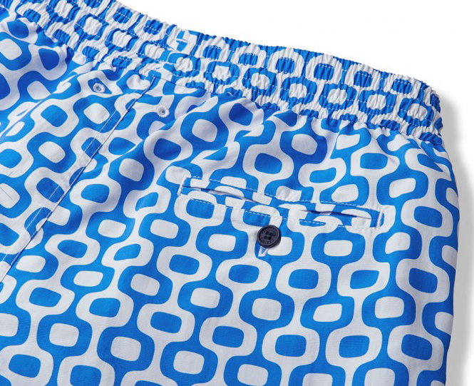 Frescobol Carioica  swimwear blends the sophistication of Rio's modernist architecture with impeccable Carioca craftsmanship. The specially adapted styles have each been designed with a modern lifestyle in mind, and feature bespoke ultra quick-drying polyamide fabric.  Their Sports Shorts feature a flexible waistband that's great for beach sports.  The Ipanema print mimics the tiled calçada portuguesa that borders the coastline of Ipanema beach in lively Rio de Janeiro.