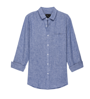 Soft linen, long sleeve striped button down. Single lined with a single chest pocket.  55% Linen/45% Rayon Imported.