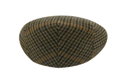 The Lord Plaid is a classic Ivy Cap silhouette in a fine wool blend hound's-tooth plaid fabric. It features a satin liner and a Grosgrain sweatband. Made in Italy.