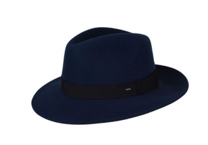 The Hereford is a long teardrop crown fedora with a medium brim. It is crafted with Bailey's Elite Finish wool -their finest wool available. The hat is trimmed with a Japanese grosgrain band, unlined for a lightweight feel, and finished with a woven sweatband.
