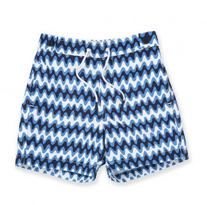 Frescobol Carioca's signature Copacabana print as re-imaged in the youthful drawings of the youngest Carioca graces these specially adapted shorts in their classic blue colour palette. They coordinate beautifully with the adult Copacabana print shorts.